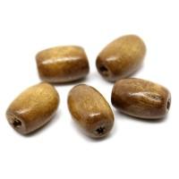 100 Holzperlen 12x8mm oval Fädelloch 2,7mm hell kaffee natur braun Holz Perle