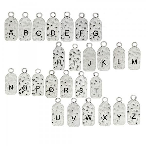 1/26x A-Z Buchstaben Anhänger 27 mm silber Namen Alphabet ABC Anfangsbuchstabe