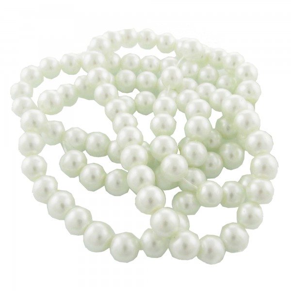 145 Glaswachsperlen 6mm weiß rot schwarz 84cm Strang Glasperlen Perlen beads