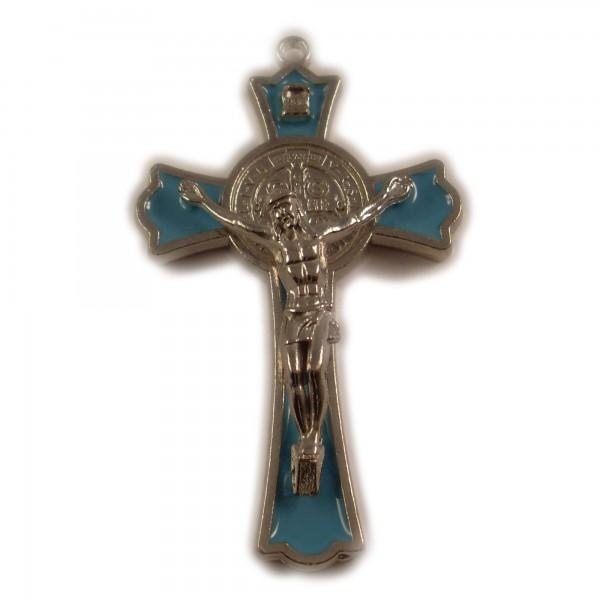 ABVERKAUF XXL Kreuz Jesus Anhänger Big Silber Blau 76mm