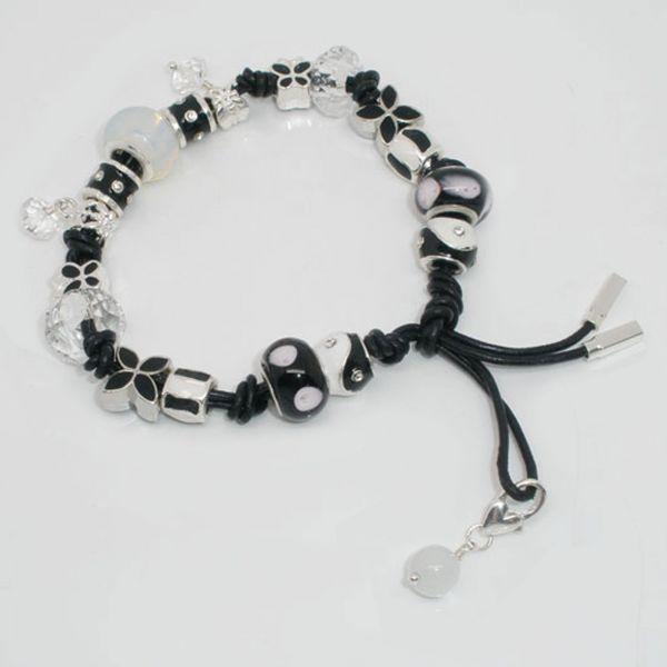 Lasso European Leder Armband 22cm mit 15 Beads und 2 Dangles im Organzabeutel