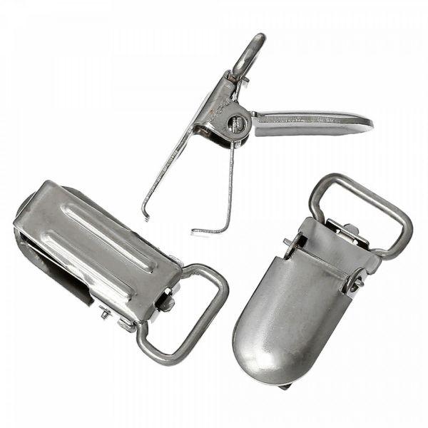 20 Klemmen für Hosenträger bis 1cm 2,7x1,3cm silber Hosenbundklemme Klip Rohling