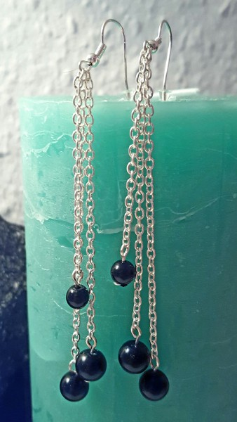 Gliederketten-Ohrring-schwarz