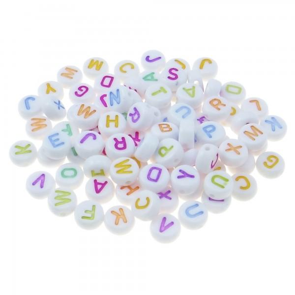 300 Buchstaben Perlen weiß 4x7mm Mix Alphabet ABC bunt farbig Buchstabenperlen
