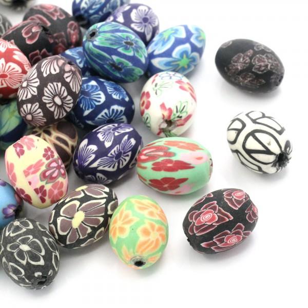10 Perlen aus Polymer Clay Ton 17x13mm Blumen Muster Fädelloch 2mm oval beads