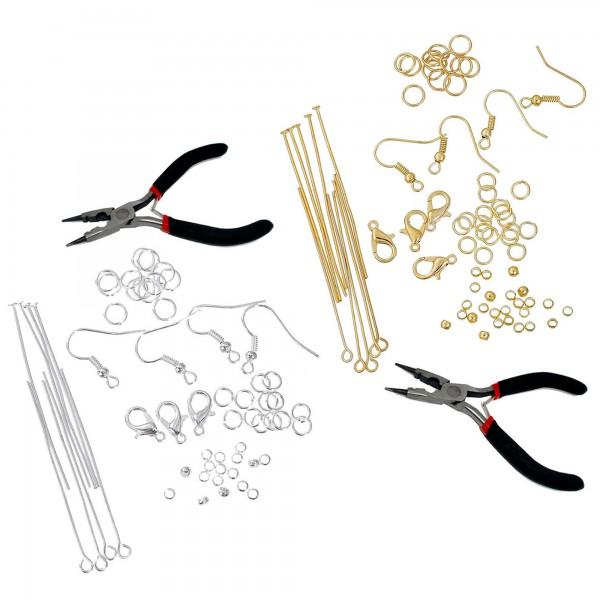 Bastelset 1.251 Teile für Schmuckherstellung +Zange Schmuck basteln Bastelpaket