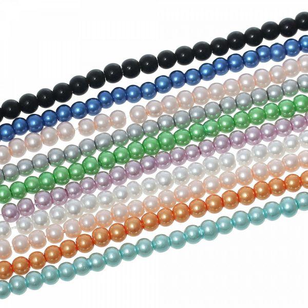 2100 Glaswachsperlen 4mm (10 Stränge 82cm) Farbenmix Kugel rund Perlen Paket