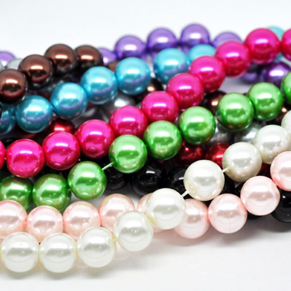800 Glaswachsperlen 10mm (10 Stränge 82cm) Farben Mischung Kugel rund Perlen