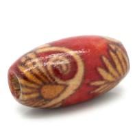 10 Holzperlen mit Muster 15x9mm Fädelloch 3mm oval rot Perlen Schmuck basteln