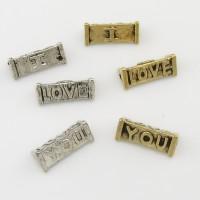 """10 Zwischenperlen """"I LOVE YOU"""" 5x12mm silber gold Spacer """"Ich liebe dich"""" Perlen"""