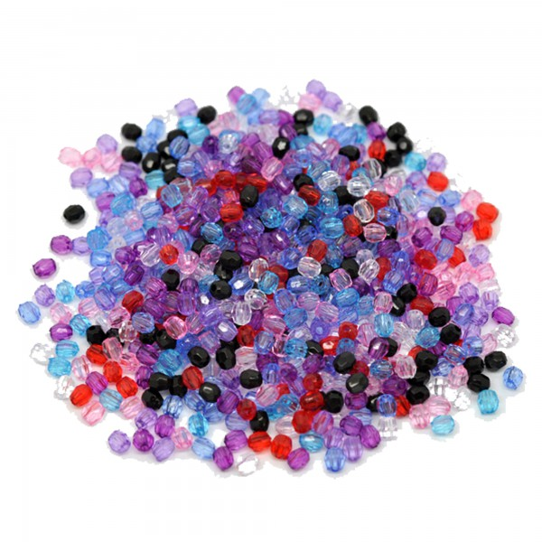 200 facettierte Perlen 4mm Farben Mix Kunststoff Acryl faceted Spacer Bead klein