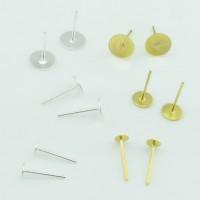 10/50x Ohrstecker 4 6 8 mm Klebeplatte Fläche silber gold Ohrring selber basteln