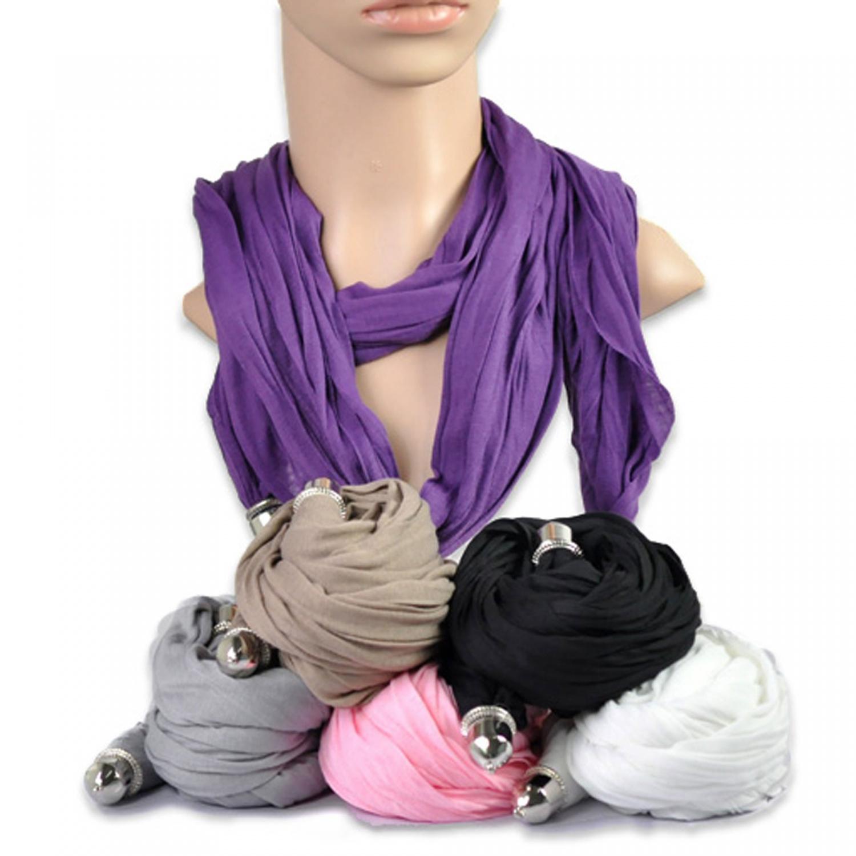 Schal Tuch Violett Weiß Grau Damen-accessoires