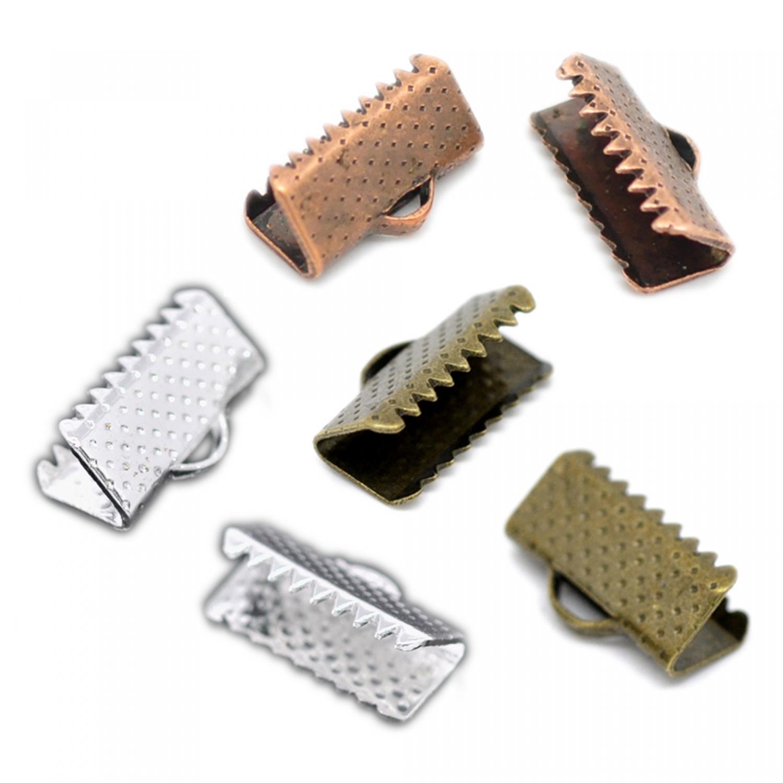 20 Klemmbleche 6x8mm silber kupfer bronze Kordelklemme Bandklemme Quetschbleche