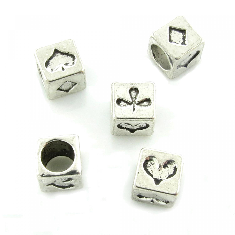 5 corazón European beads 8x5mm fädelloch 4,75mm con corazones perlas plata módulo perla