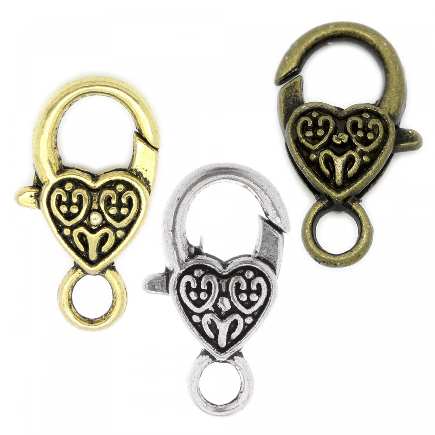 5 Carabiner with Heart 26mm Silver Gold Bronze Chains Closures Closure Love
