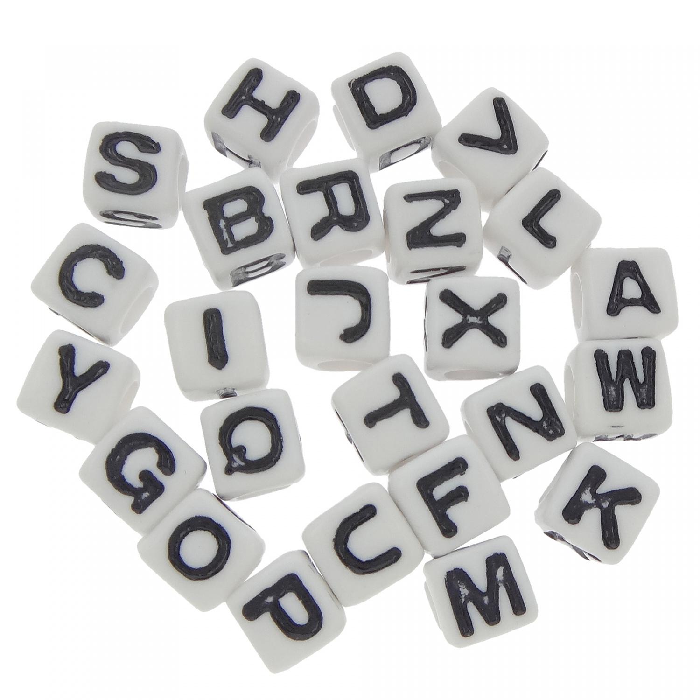 300 Buchstaben Perlen 7mm Loch 4mm Weiß Würfel Abc Alphabet